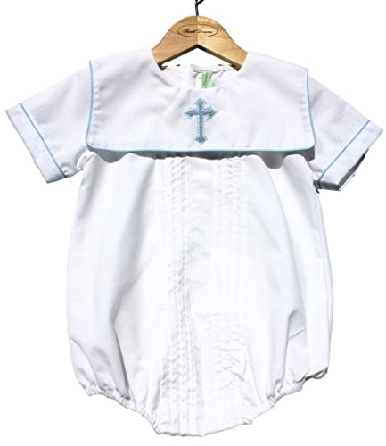(Sweet Dreams Baby Boys Christening Baptism Bubble Set Outfit Pleated Blue Cross, 24M)