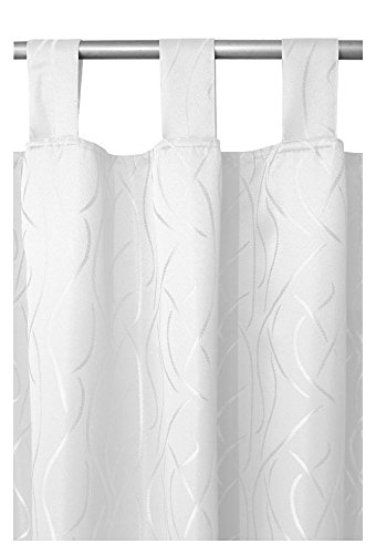 Schlaufenschal - Schlaufengardine - Dekoschal - Vorhang Blickdicht im Streifen Design 140cm x 240cm in Weiss