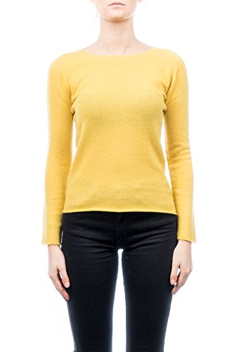 Pull XL Couleur DALLE 100 PIANE cachemire Jaune Femme rond col Taille CASHMERE Bqq7wO6