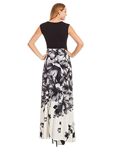 WB1390 Womens Print Contrast Sleeveless Empire Line Maxi Dress XXL BLACK_IVORY by Lock and Love (Image #2)