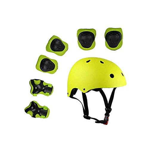 Zhahender Fitness Training Protective Set for Skates, 8pcs Advance Knee Pads Elbow Pads Wrist Protector for Cycling Roller Skateboard (Color : Yellow)