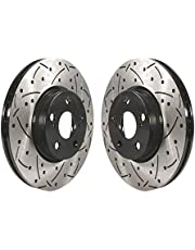 Front Coated Drilled Slotted Disc Brake Rotors Pair For Toyota Corolla Scion xD Matrix Pontiac Vibe