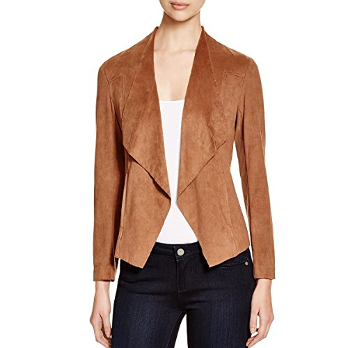 Alison Andrews Womens Lincoln Draped Front Faux Suede Open-Front Blazer Tan XL