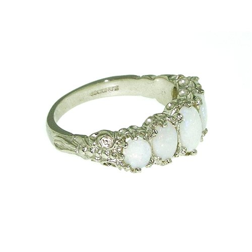 925 Sterling Silver Natural Opal Womens Band Ring - Sizes 4 to 12 Available
