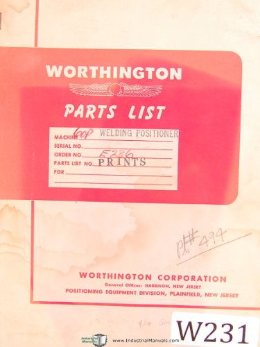 Worthington 60P, Welding Positioner, Parts Lists Manual