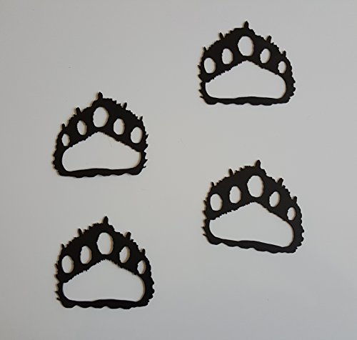 Bear Metal Art (Bear Paw Prints Set of 4 Black Home Decor Metal Wall Art)