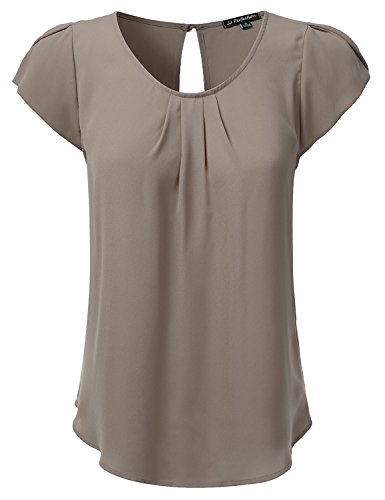 JJ Perfection Women's Woven Petal Short Sleeve Blouse Charcoal ()