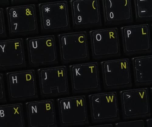 Dvorak Keyboard Labels ON Transparent Background with Yellow Lettering 14X14