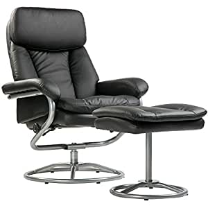 Merax Contemporary Recliner and Ottoman Set in Black 360°Swivel Living Room and Office Furniture