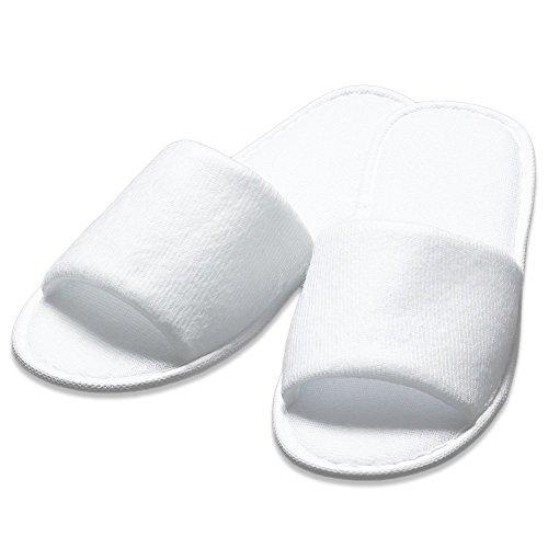 10 Slipper Premium Frottee Paar Weiß 2 Stubenfein Größen Offen wtqOw7r