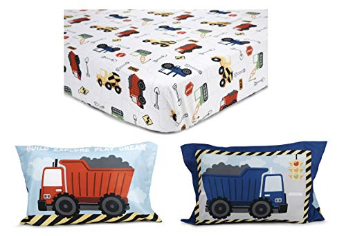 Funhouse Toddler Bed Sheet Set - Includes Fitted Sheet and Pillowcase Set - Construction Trucks Design for Boys Bed, Pack of 2 2