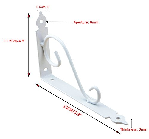AddGrace Pack of 2 Decorative Wall Shelf Brackets Support for Storage Display Mounted Floral Shelf Brackets (White) 6 Inch by AddGrace (Image #1)