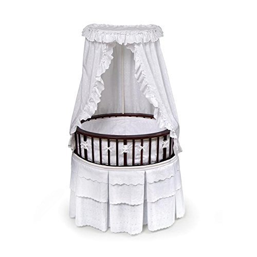 Cherry Elite Oval Bassinet with White Eyelet Bedding (Bassinet White Eyelet Bedding)