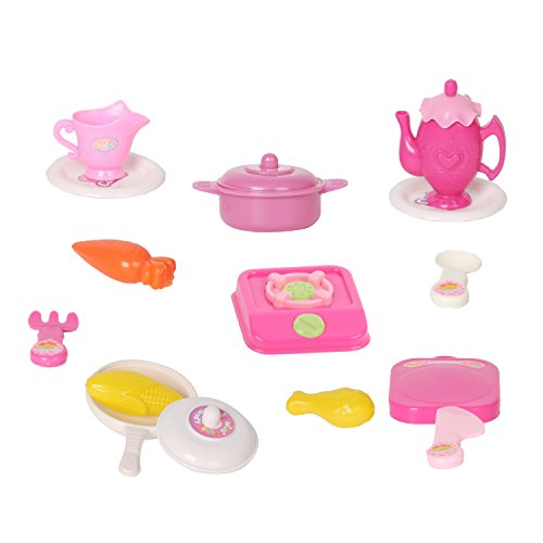 Kitchen Cooking Role Pretend Play Toy Cooker Set (Pink) - 7
