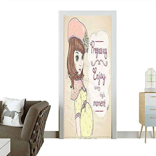 - Art Door Stickers Pregnancy Enjoy Every Single Moment Clipart Pregnant Woman Dress Hat Door Decals for Home Room DecorationW36 x H79 INCH