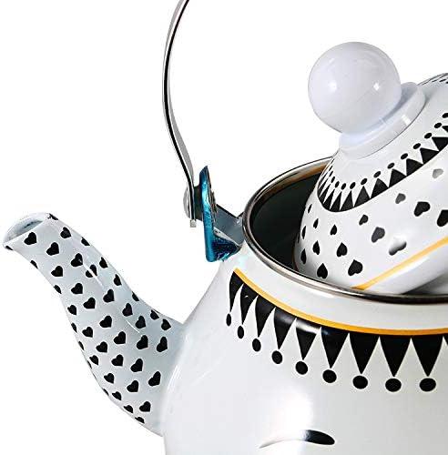 Cafetera y tetera para camping Tetera con silbato Tetera para acampar Esmalte de dibujos animados cocina de inducci/ón universal tetera estufa de gas