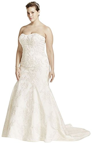 b89f80a7f6 Home/Brands/Wdress/David's Bridal Sample: Strapless Satin Trumpet Gown with  Lace Style AI14030103, Ivory, 16W. ; 