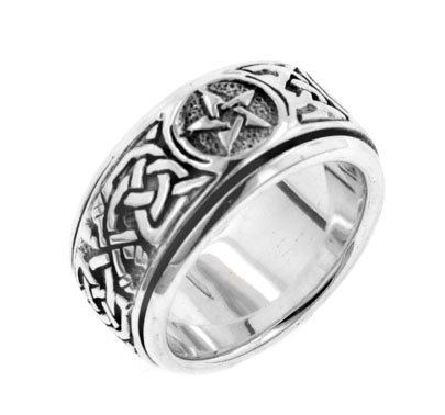 - Sterling Silver Celtic Knot Pentacle Spinning Fidget Ring Size 5(Sizes 4,5,6,7,8,9,10,11,12,13,14,15)