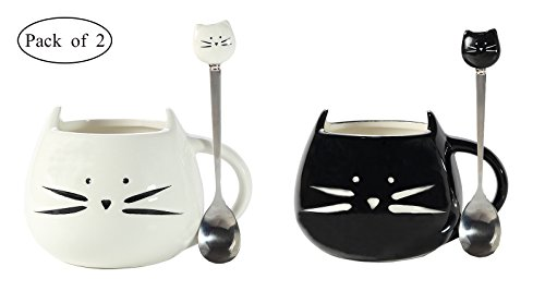 Cat Coffee Mugs PJS-MAX Black & White Ceramic Morning Mugs and Cute Cat Spoons Set - Best Gift for Lover (Pack of 2)