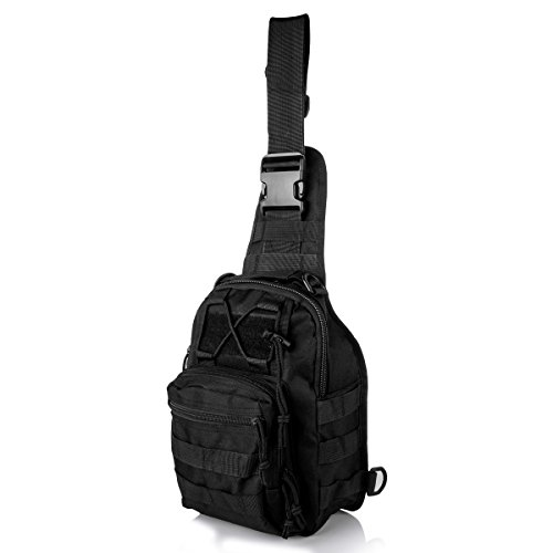 Tactical Backpack Shoulder Diagonal Bag Chest Pack Sling Bag Crossbody Rucksack Canvas Outdoor Sports Sack for Riding Camping Hiking Traveling Nailon Negro, by LC Prime