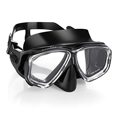 (OMGear Diving Mask Scuba Dive Mask Glasses Snorkeling Gear Silicone Diving Goggles Impact Resistance Anti-Leak Anti-Fog Wide View Adult Neoprene Mask Strap Freediving Spearfishing Swimming (black2))