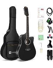 Vangoa 12 String Guitar, Acoustic-electric Dreadnought Cutaway Guitar Bundle, Spruce Top, Bone Nut, Matte Black (VA20CE BKM12)