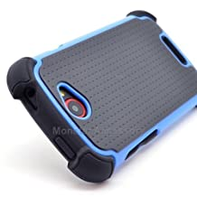 EC Double Layer X Shield Hard Hybrid Gel Case Cover For HTC One S / Ville, T-Mobile - Black Blue
