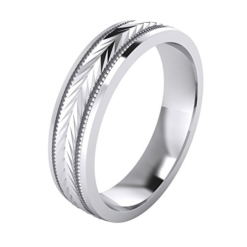 LANDA JEWEL Heavy Sterling Silver 5mm Unisex Wedding Band Milgrain Arrow Patterned Ring Comfort Fit Polished (10)