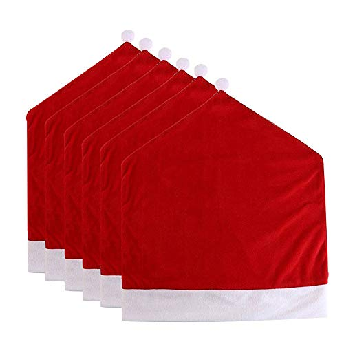 Christmas Santa Hat Chair Covers, Santa Hat Chair Covers, Red Hat Chair Back Covers Kitchen Chair Covers Sets for Christmas Holiday Festive Decor, Christmas Decorations Chair Covers 6pc
