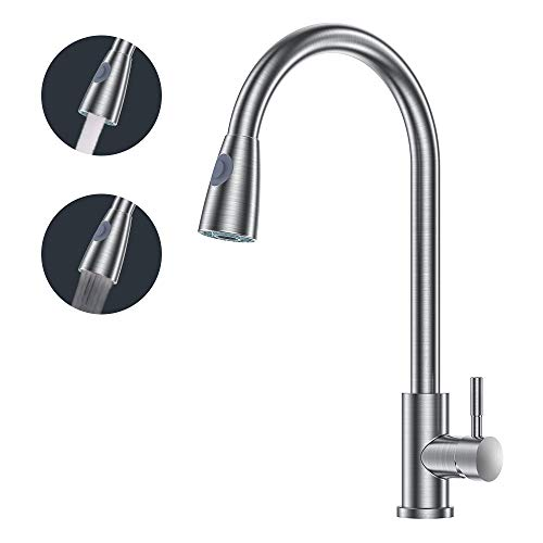 AmazeFan Single Handle High Arc Brushed Nickel Pull out Kitchen Faucet,Single Level Stainless Steel Kitchen Sink Faucets with Pull down Sprayer (Arc Single)