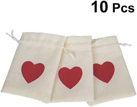 YeahiBaby Bolsas de cordón de Lino Corazón Patrón Bolsas de ...