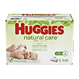 Huggies Natural Care Unscented Baby Wipes, Sensitive, 8 Flip-top Packs (448 Wipes)