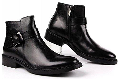 In Classici laterale Wuf con zip Laterali Cerniere Nero Pelle Uomo a chiusura Da Scarpe Stivaletti Alte Shoe ZZqtY