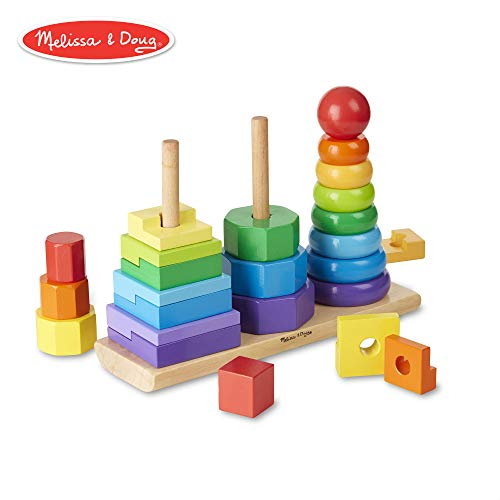(Melissa & Doug Geometric Stacker Toddler Toy (Developmental Toys, Rings, Octagons, and Rectangles, 25 Colorful Wooden)