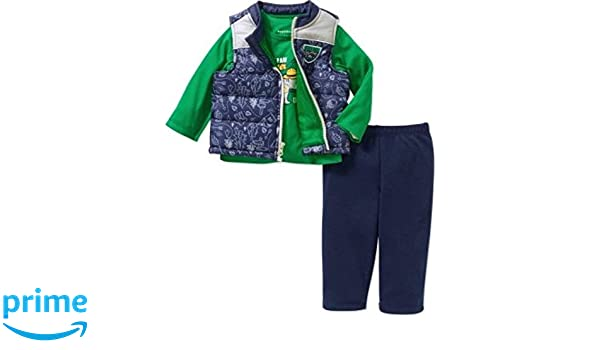 811dc9c72 Amazon.com: Healthtex Baby Boy Puffer Vest, Graphic Tee and Pant 3pc Set  (6-9Months): Clothing
