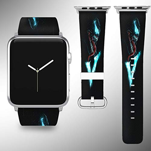 Wrist band strap compatible with Apple Watch iWatch all series adapters 38mm 40 mm 42mm 44mm series 1 2 3 4 Leather Fabric strap with Venom desing