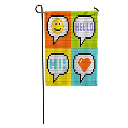 Semtomn Garden Flag 8 Bit Pixel Social Networking Speech Bubbles Smiley Hello Hi Home Yard House Decor Barnner Outdoor Stand 12x18 Inches Flag ()