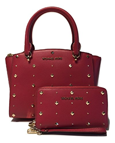 MICHAEL Michael Kors Ellis SM Convertible Satchel bundled with Michael Kors Jet Set Travel LG Flat Phone Wallet Wristlet (Lipstick) by Michael Kors