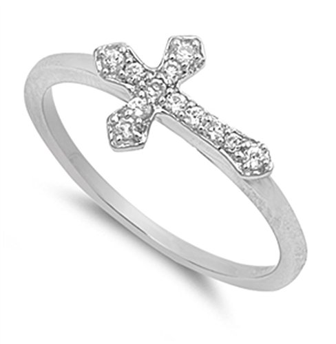 Sterling Silver Women's Clear CZ Sideways Cross Ring Unique Band 9mm Size 8 (RNG11174-8)