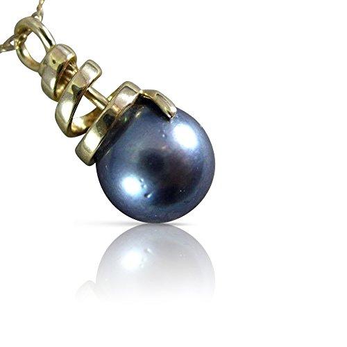 (Milano Jewelers AAA TAHITIAN PEARL 14K YELLOW GOLD 3D SOLITAIRE SWIRL LOVE PENDANT #26385)