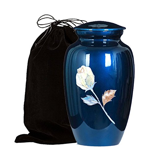 (Mother of Pearl Inlaid Metal Cremation Urn - MOP Cremation Urn - Solid Metal Funeral Urn - Handcrafted Adult Funeral Urn for Ashes - Great Urn Deal with Free Bag (Blue Rose))