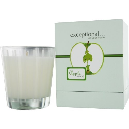 APPLE WOOD - LIMITED EDITION by Exceptional Parfums APPLE WOOD SCENTED 8.8 OZ TAPERED GLASS JAR CANDLE.
