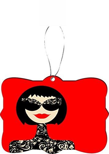 Rikki Knight RKWS-SQORN-8929 Christmas Tree Ornament / Car Rear View Mirror Hanger French Fashion Woman Portrait Illustration on Red Design by Rikki Knight