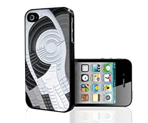 Designer Shoe Retro 1986 Black, White, and Pure Platinum 1's Foot Print Hard Snap on Phone Case (iPhone 4/4s) hjbrhga1544