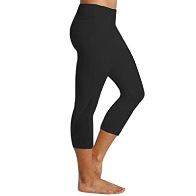 SPORTTIN Deal Power Flex High-Waist Yoga Pants Mesh Tummy Control Compression Active Capri Legging: Clothing