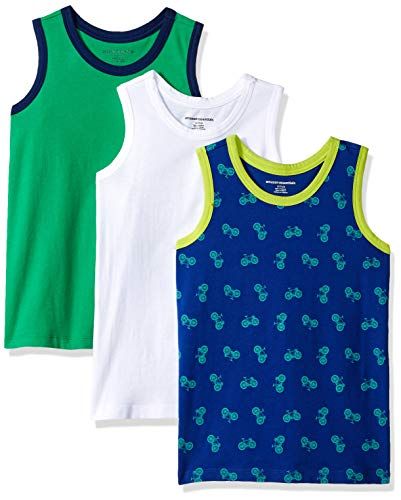 Amazon Essentials   Boys' 3-Pack Tank Top, Bicycle/White/Green M (8) (Cotton Tank Top Shirt)