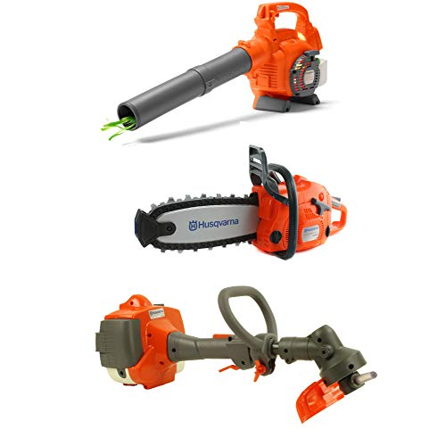 (Husqvarna Kids Toy Battery Operated Leaf Blower + Lawn Trimmer Line + Chainsaw)