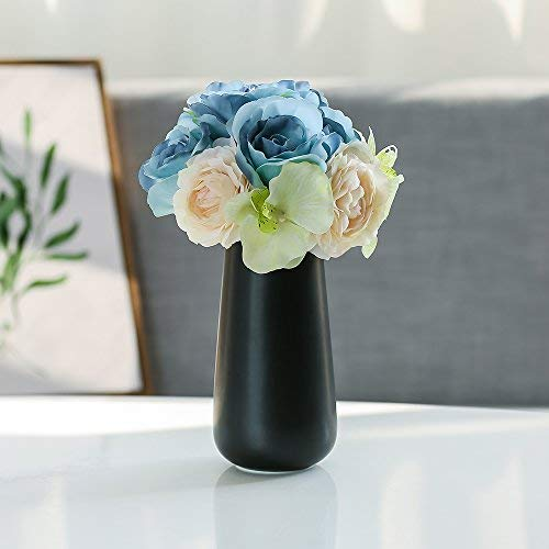 Dvine Dev 8 Inches Black Ceramic Vases - Office Decor Vase and Table Centerpieces Vase - Gift Box Packaged