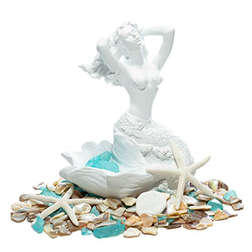 "Mermaid Figurine | Basking White Mermaid Statuette 7"" H x 6W x 4.5D 