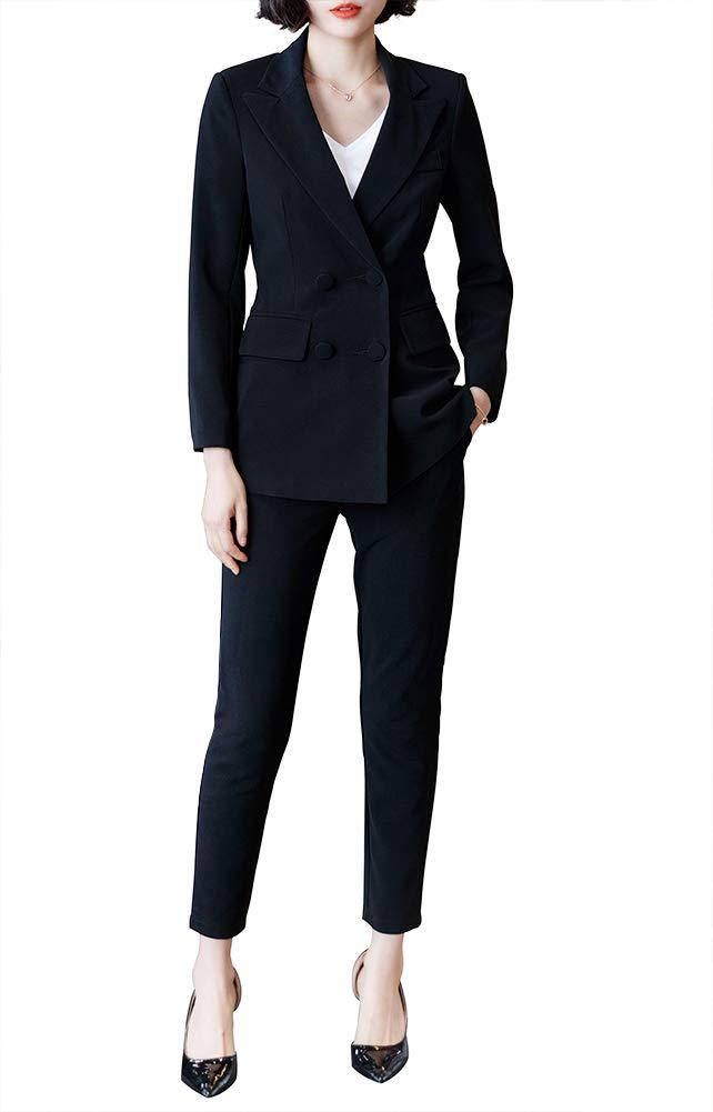 Women's Two Pieces Blazer Office Lady Suit Set Work Blazer Jacket and Pant (Black, M) by LISUEYNE